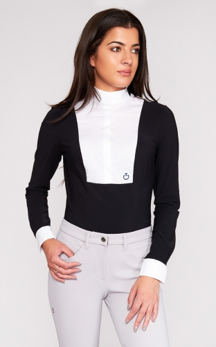Ladies Cavalleria Toscana Perforated Knit Collar Shirt