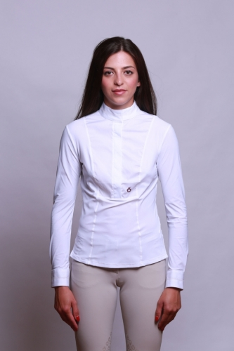 Ladies Cavalleria Toscana Perforated Shirt Long Sleeves