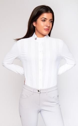 Ladies Cavalleria Toscana Verticle Perforated Shirt Long Sleeves